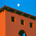 Moon Over Red Adobe Horizontal by Heather Kirk