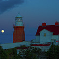 Moon Over Twillingate Lighthouse by Les Palenik