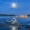 Moon Over Vistula River In Warsaw by Julis Simo