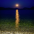 Moon Reflects Over The Ionian Sea In Lefkada, Greece by Global Light Photography - Nicole Leffer