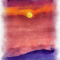 Moon Rise In Aquarelle by Charles Muhle