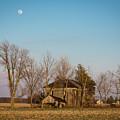 Moon Rising Over An Abandoned Ohio Farmhouse by Matt Shiffler
