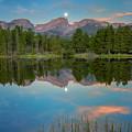 Full Moon Set Over Sprague Lake by John Vose