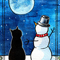 Moon Watching With Snowman - Christmas Cat by Dora Hathazi Mendes