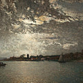 Moonlight Mood, The Stockholm Inlet  by Alfred Wahlberg