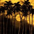 Moonlit Palm Trees In Yellow by Larry Lehman