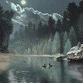 Moonlit Waters-loons by Daniel Pierce