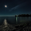 Moonllight Over Pointe Traverse by Roger Monahan