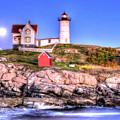 Moonrise At Nubble Light by Don Mercer