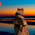 Moonrise Over Inukshuk At Georgian Bay by Les Palenik