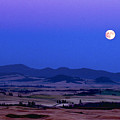 Moonrise Over The Palouse By Jean Noren by Jean Noren