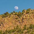 Moonrise Rio Grande Gorge Pilar New Mexico by Lawrence S Richardson Jr