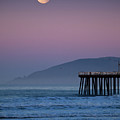 Moonset At Pismo Beach by Mimi Ditchie Photography