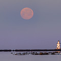Moonset Over Outer Light by Jonathan Steele