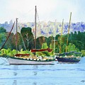 Moored Ketch by LeAnne Sowa