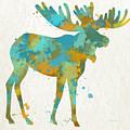 Moose Watercolor Art by Christina Rollo