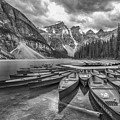 Moraine Lake In Black And White by Paul Quinn