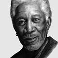 Morgan Freeman Charcoal Portrait by Richelle Siska