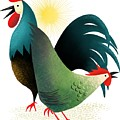 Morning Glory Rooster And Hen Wake Up Call by Little Bunny Sunshine