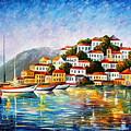 Morning Harbor - Palette Knife Oil Painting On Canvas By Leonid Afremov by Leonid Afremov
