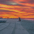 Morning Red Sky At Cape May New Jersey by Bill Cannon