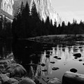 Morning Sunlight On El Cap - Black And White by Heidi Smith