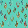 Mosaic Cacti On Aqua by Karen Black
