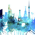 Moscow, Russia, Watercolor In Blue by Dim Dom