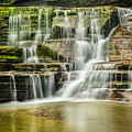 Mossy Flowing Waterfalls In Enfield Glen by Karen Jorstad