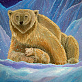 Mother And Baby Polar Bears by Nick Gustafson