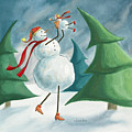 Mother And Baby Snowmen by Chantal Candon
