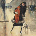Mother And Child On A Street Crossing by Lesser Ury