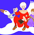 Mother Goose On Her Flying Goose by Marian Cates