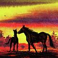 Mother's Love - Two Horses by Irina Sztukowski