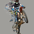 Motocross Rider With Flying Pieces by Elaine Plesser