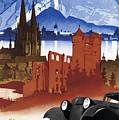 Motoring In Germany - Retro Travel Poster - Vintage Poster by Studio Grafiikka