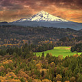 Mount Hood At Sandy River Valley In Fall by David Gn