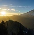 Mount Rainier Golden Dusk Light by Mike Reid