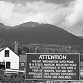 Mount Washington Nh Warning Sign Black And White by Toby McGuire