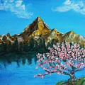 Mountain And Pink Tree by Emily Michaud