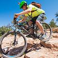 Mountain Biker On The Porcupine Rim Trail Near Moab by Elijah Weber
