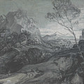 Mountain Landscape With Figures And Buildings by Thomas Gainsborough