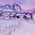 Mountain Village In Snow by Sabina Von Arx