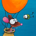 Mouse In His Hot Air Balloon by Lucia Stewart
