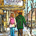 Movie Marquee Painting Canadian Art Young Couple Winter Walk Park Ave Montreal Scene Carole Spandau  by Carole Spandau