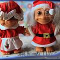 Mr And Mrs Santa Troll by Toni Hopper