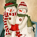 Mr. And Mrs. Snowman Vintage by Angeles M Pomata