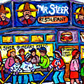 Mr Steer Burgers Montreal Restaurant Paintings Winter Street Scenes Hockey Art Canadian Artist       by Carole Spandau