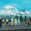 Mt. Rainier Tourists by Gene Ritchhart