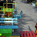 Multi-colored Benches On The Pedestrian Zone by Emma Grimberg
